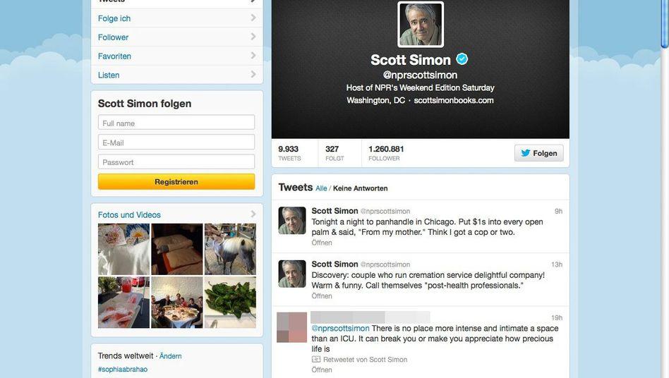 Scott Simons Twitter-Account: Nachrichten aus der Intensivstation