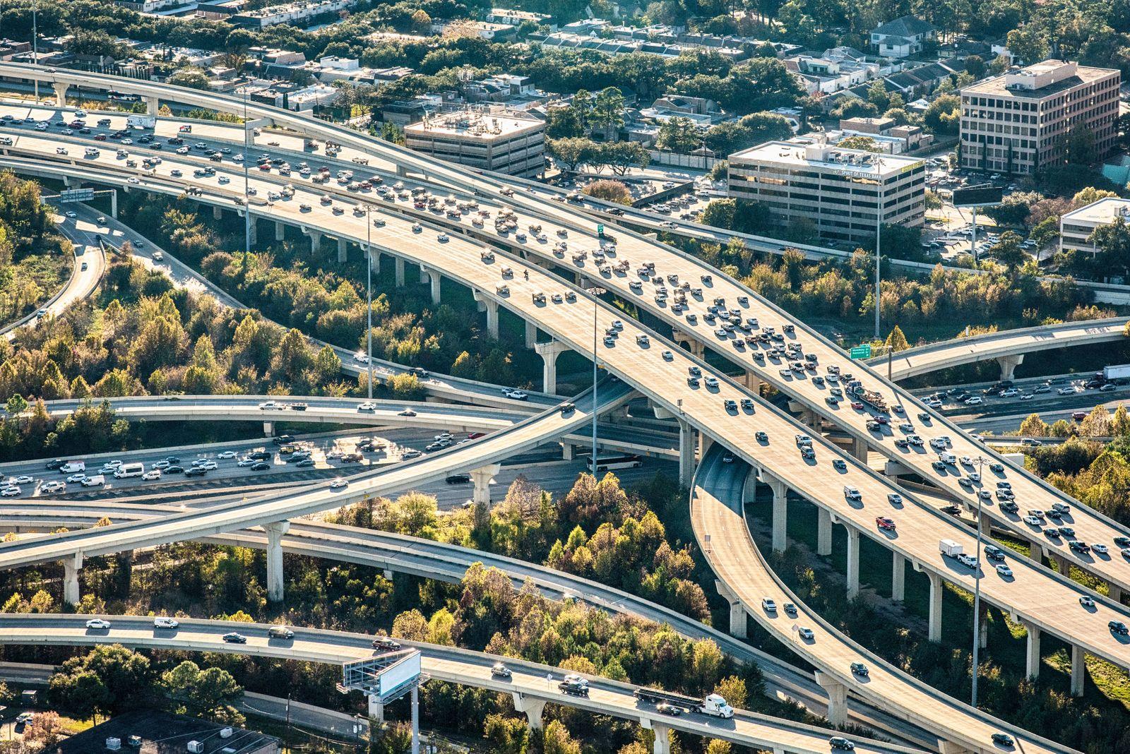 Houston Texas Freeway Aerial