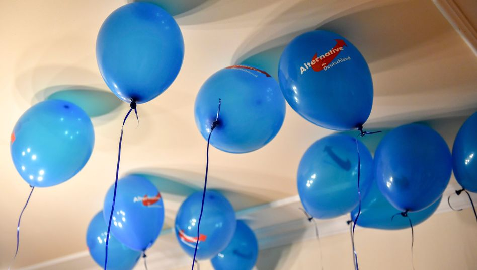 AfD-Luftballons auf Wahlparty in Mamming