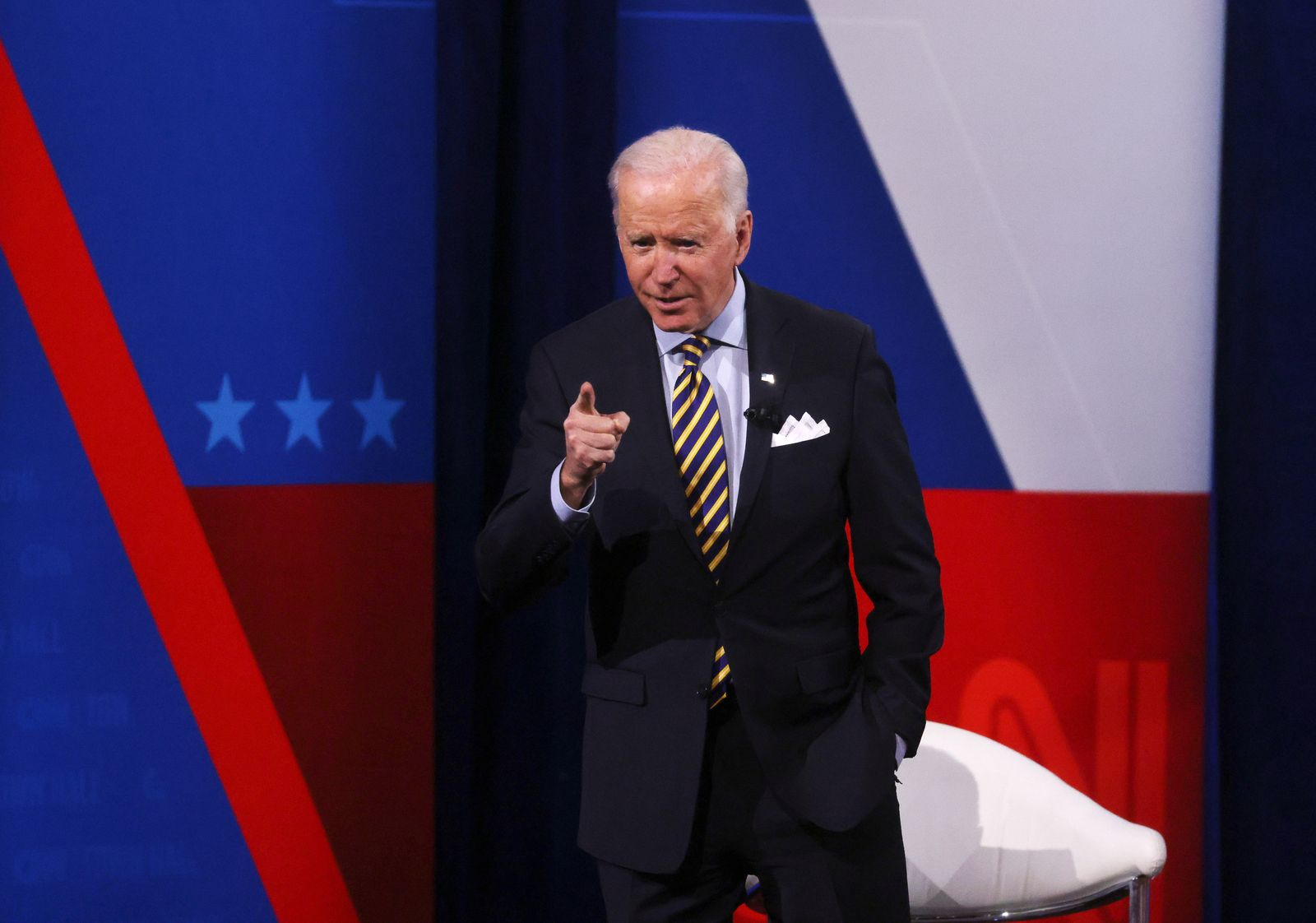 U.S. President Joe Biden participates in a CNN town hall in Milwaukee