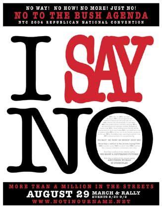 """Mit einem kräftigen """"Nein"""" wollen die Demonstranten Bush in New York begrüßen"""