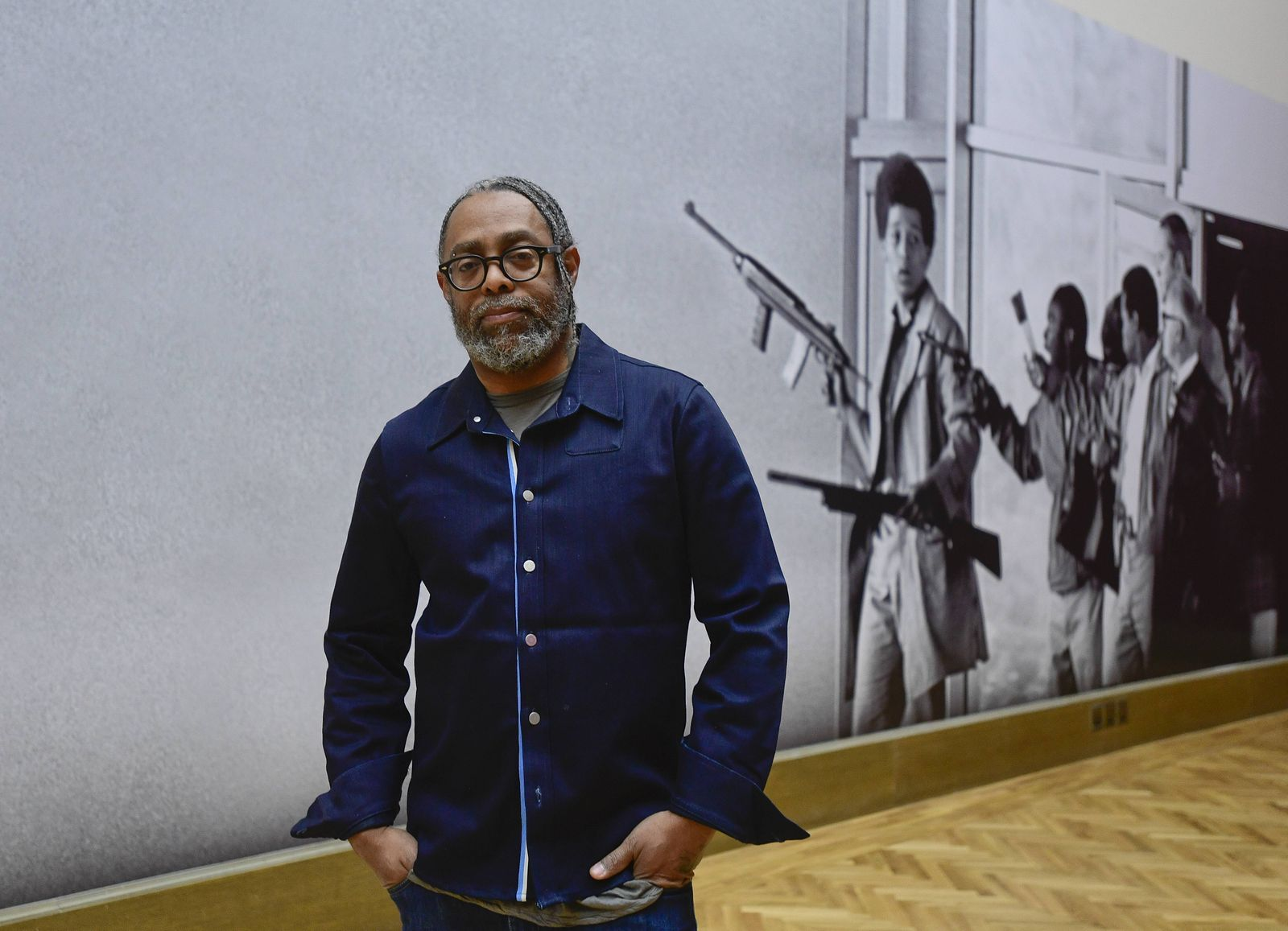 US artist Arthur Jafa poses in front of a part of the A Series of Utterly Improbable Yet Extraordin