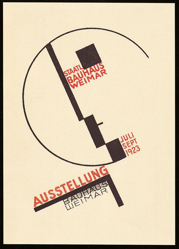 Von Dörte Helm gestaltete Postkarte zur Bauhaus-Ausstellung 1923