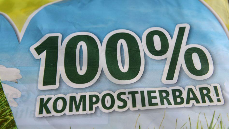 """Einkaufstüte angeblich """"100 Prozent kompostierbar!"""": Die Tragetaschen aus Bioplastik konnten weder kompostiert noch recycelt werden"""