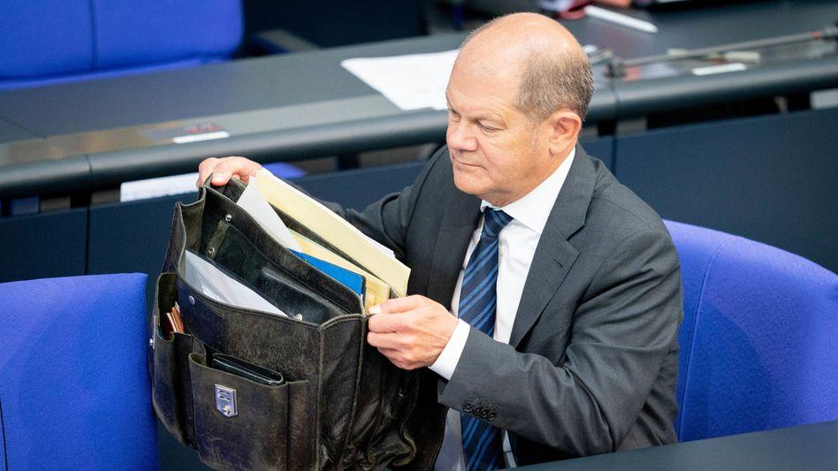 Derzeit ist sein Platz auf der Regierungsbank: Olaf Scholz im Bundestag
