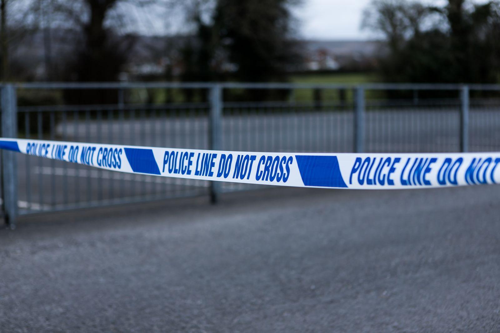 Police barrier tape in the UK