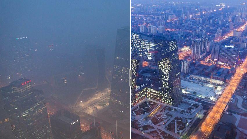 Dicke Luft (Montage): Der Smog aus Peking hat die japanische Hauptinsel erreicht