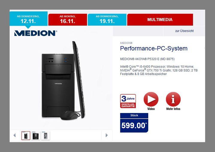 Aldi-PC-Angebot von Mitte November: Für 599 Euro bekam man einen Rechner mit gutem Preis-Leistungs-Verhältnis. Die Grafikkarte reicht allerdings nicht, um neue Spiele in höchster Qualität zu spielen.