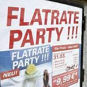 """Werbung für eine Flatrate-Party: """"Was wir an Gesetzen haben, reicht aus."""""""