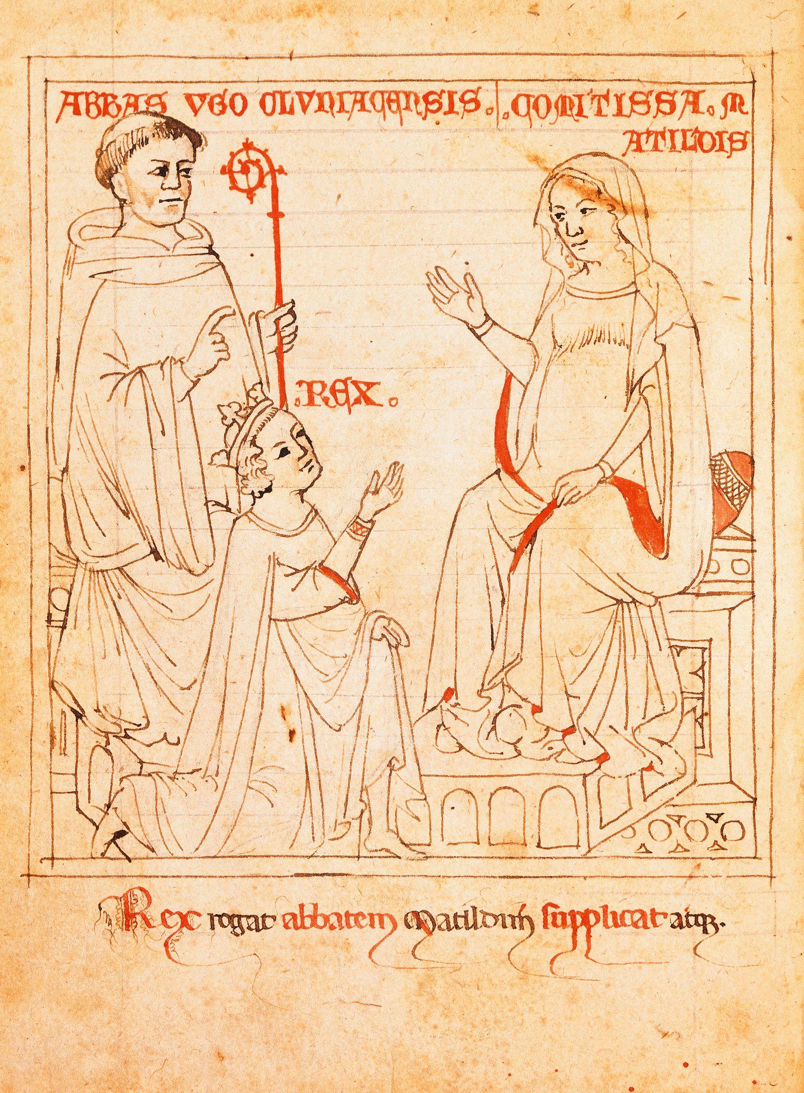 Abbot Ugo Oluntagensis, Countess Matilda of Tuscany and the king, miniature from Vita Mathildis, manuscript, 11th-12th Century.