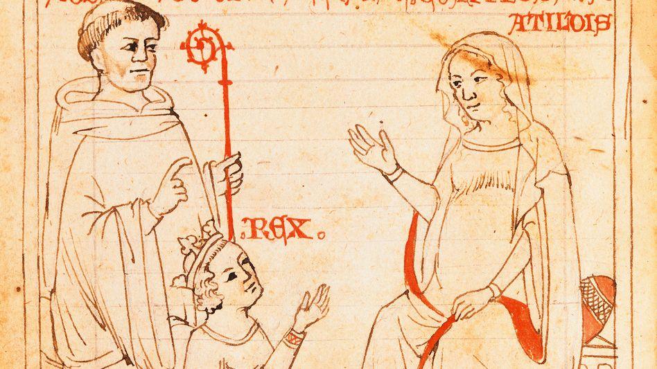 Mathilde auf dem Thron, der König auf Knien (Buchmalerei, 14. Jahrhundert)