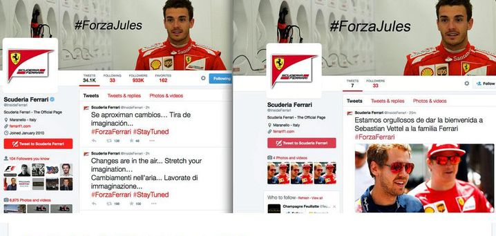 Gefälschter Ferrari Account bei Twitter (rechts): Vettel-Wechsel vermeldet