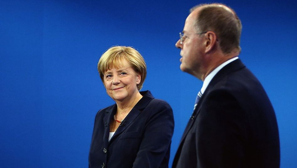 Merkel tried to seem as though she had little to fear on Sunday evening.