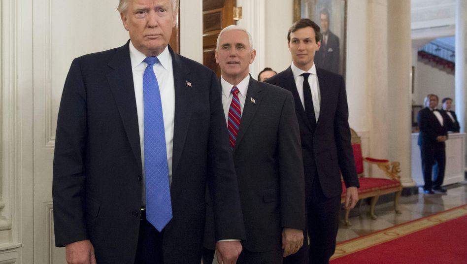 US-Präsident Trump, Vize-Präsident Pence, White-House-Senior-Advisor und Trump-Schwiegersohn Kushner