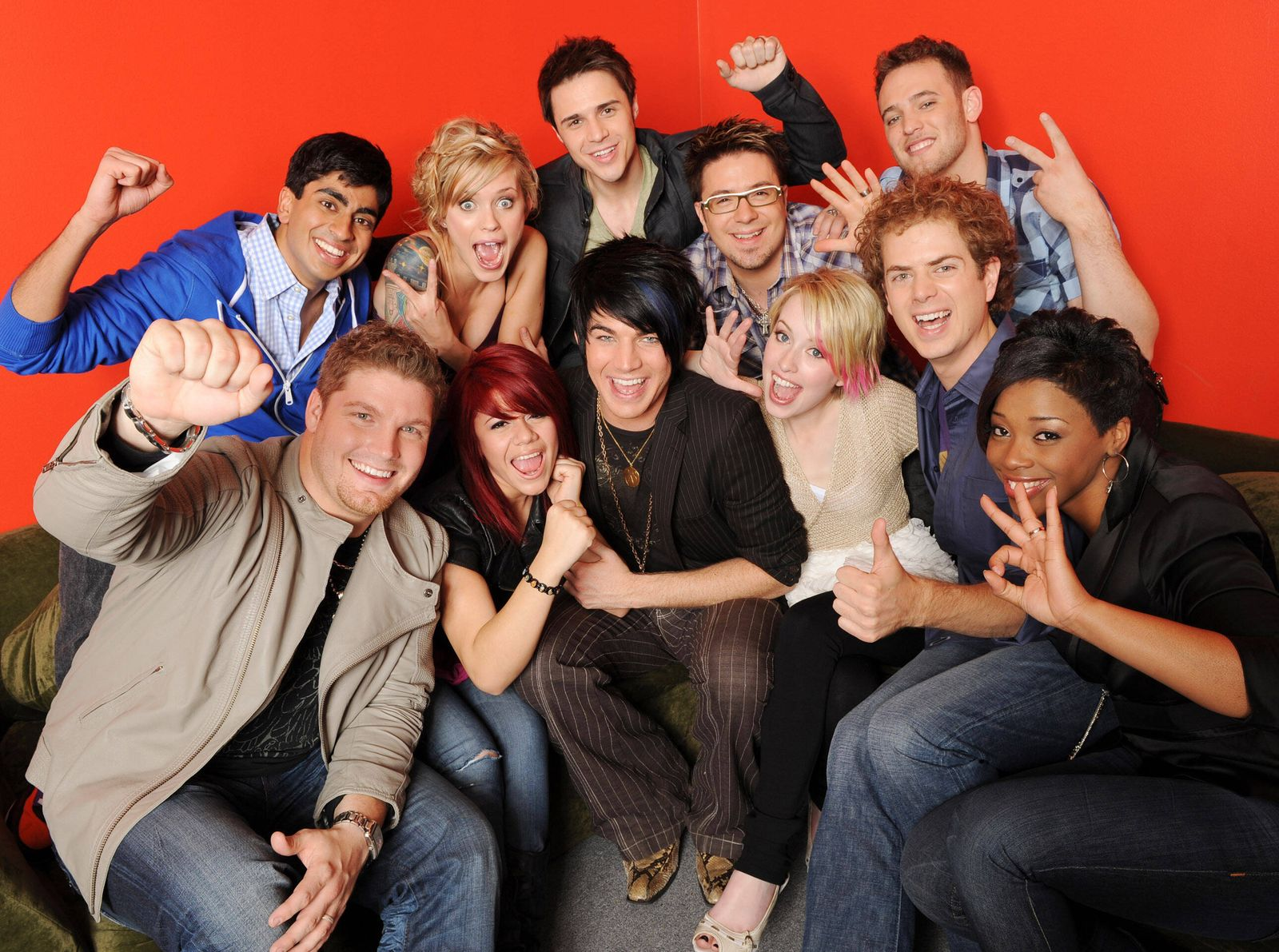 AMERICAN IDOL 8, (clockwise from bottom right): Lil Rounds, Scott MacIntyre, Alexis Grace, Adam Lambert, Allison Iraheta
