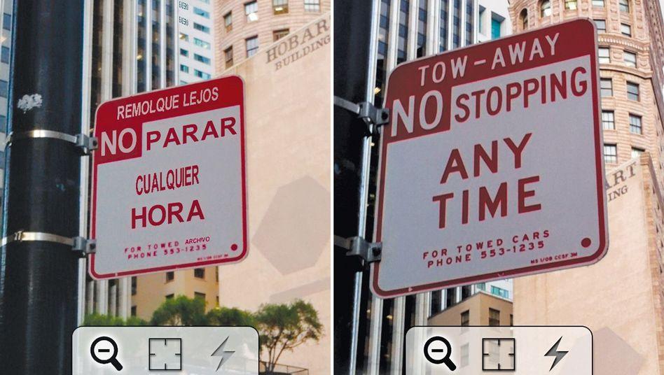 iPhone-App: Word Lens kann englischen Text ins Spanische übersetzen und nachbauen