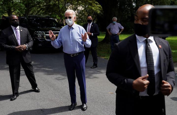 Wahlkämpfer Joe Biden: In der Öffentlichkeit meist mit Maske unterwegs