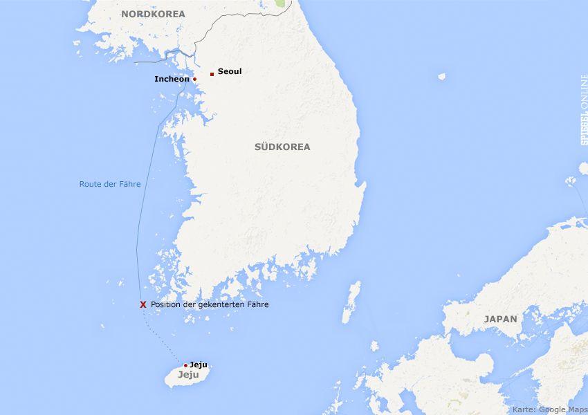 Karte - Schiffsunglück Südkorea v1