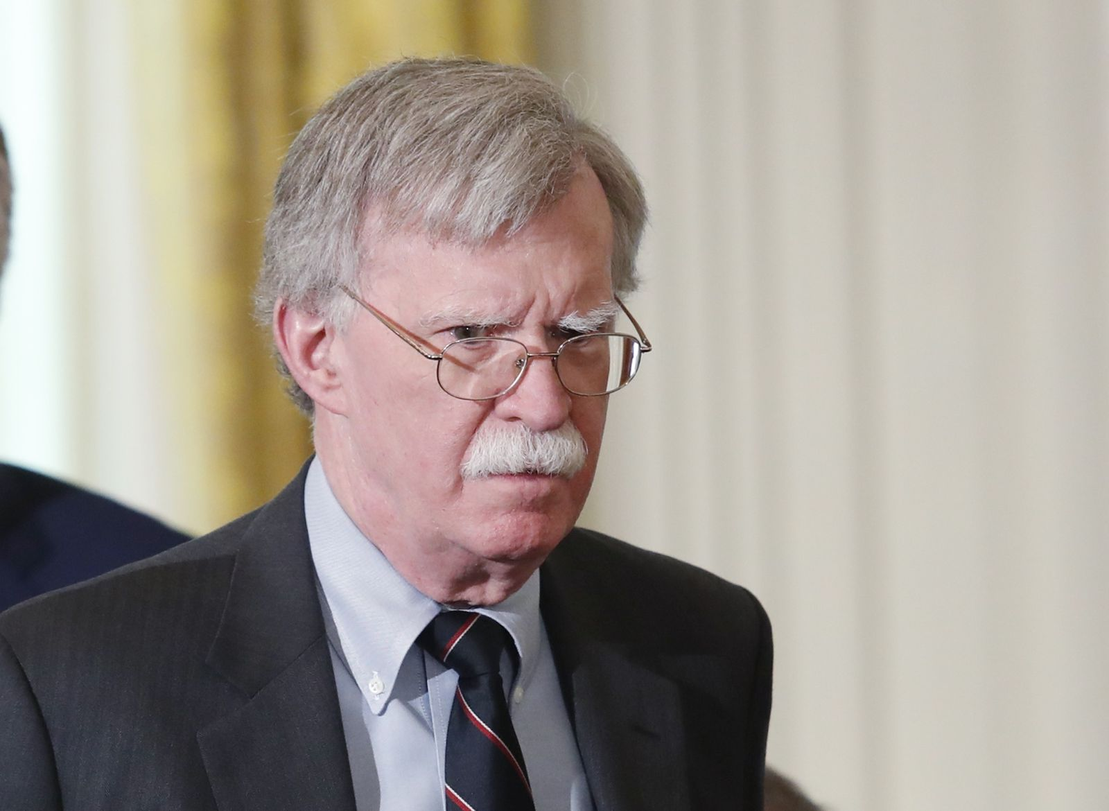 Bolton arrives for Trump-Merkel joint news conference at the White House in Washington