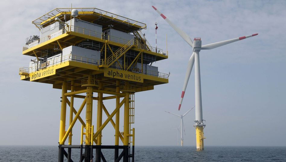 A station and wind energy plants at the offshore wind energy park Alpha Ventus in the North Sea.