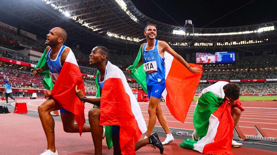 Die italienischen Sprinter feiern Staffel-Gold