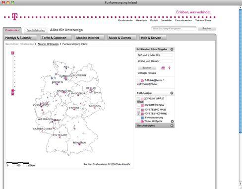 LTE 1800-Netzabdeckung der Telekom (Screenshot): Weite weiße Flächen