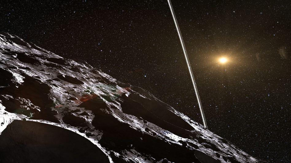 Der Asteroid Chariklo mit einem Ring (künstlerische Darstellung)
