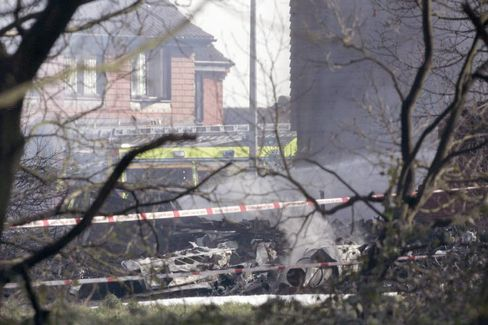 Absturzstelle in Farnborough: Das Unglück kostete fünf Menschen das Leben