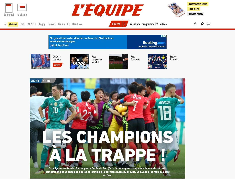 NUR ALS ZITAT Screenshot lequipe.fr