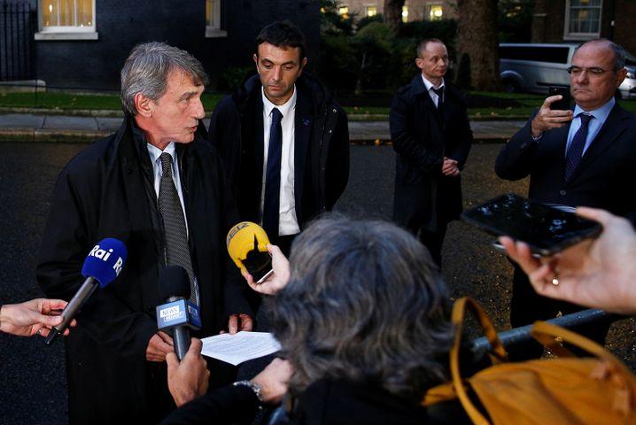 Nach dem Treffen erklärte sich nur David Sassoli, Boris Johnson blieb stumm