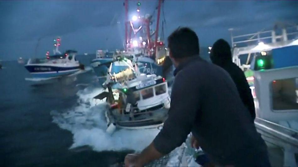 Französische und britische Fischerboote im Ärmelkanal