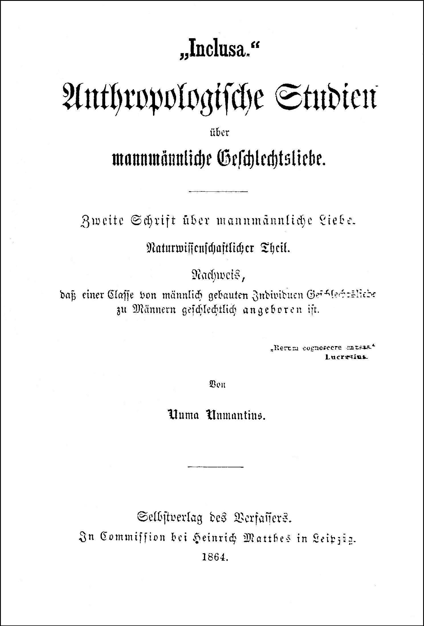 Titlepage of Karl Heinrich Ulrichs' Inclusa, 1864