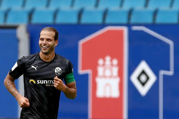 Beim HSV hat er nie getroffen, für Sandhausen in dieser Saison zweimal