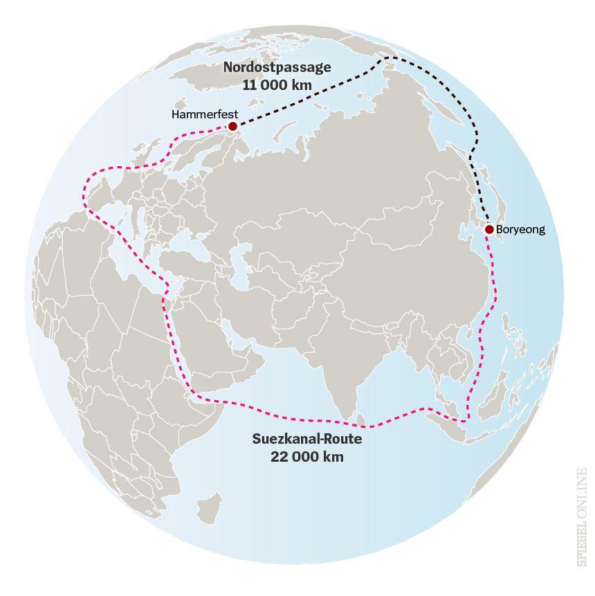 Karte Nordostpassage Norwegen Korea