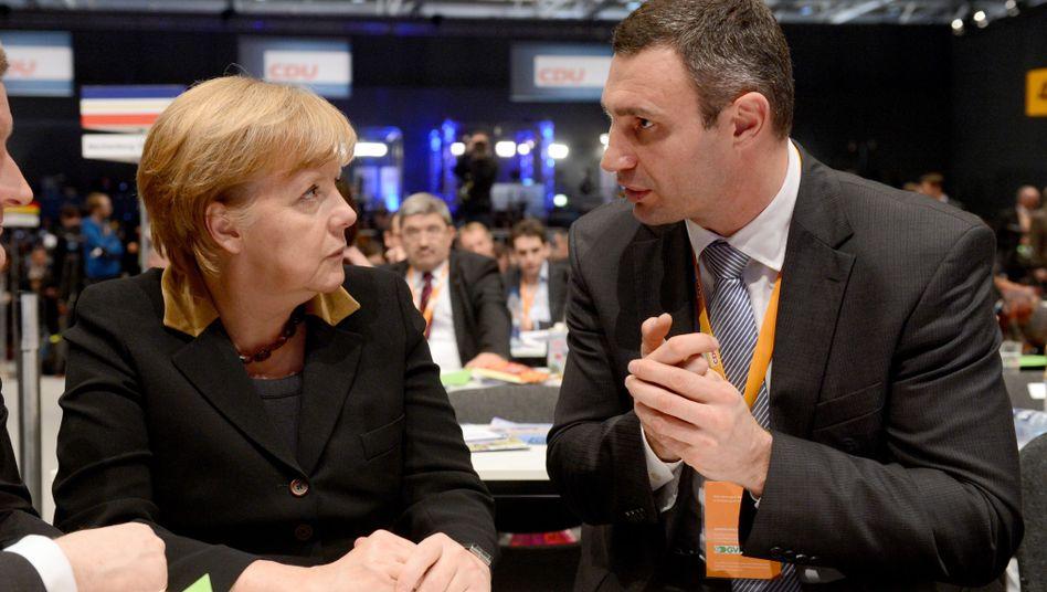 Klitschko, Kanzlerin Merkel: Rückendeckung aus Deutschland
