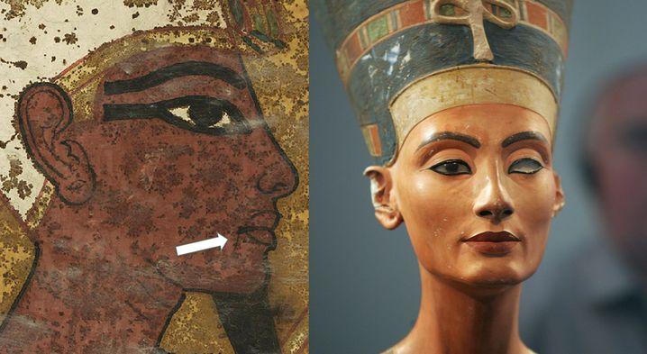 Abbild des verstorbenen Pharaos in Tutanchamuns Grab, Nofretetes Büste: Die Mundfalte war ein Kennzeichen der Herrscherin
