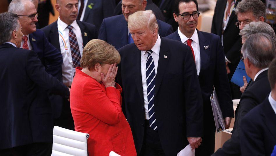 German Chancellor Angela Merkel and U.S. President Donald Trump in Hamburg on Friday.