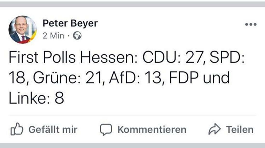EINMALIGE VERWENDUNG Screenshot/ Peter Beyer/ Facebook