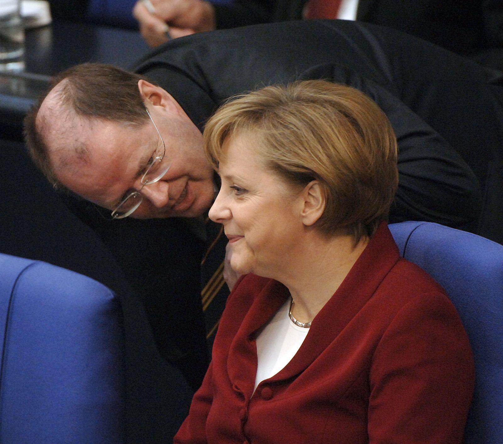 Peer Steinbrück/ Merkel