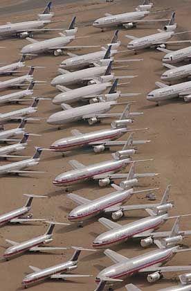 Stillgelegte Passagierjets auf dem Mojave-Flughafen