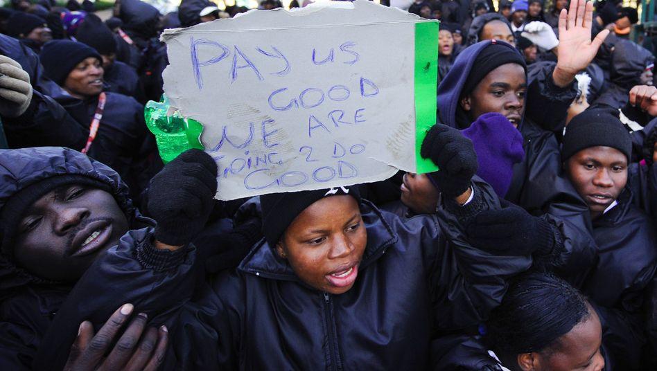 Streikende Stadion-Stewards in Johannesburg: Proteste für mehr Lohn
