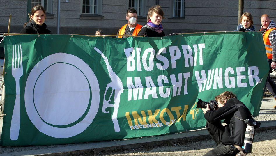 """Protest: Demonstranten halten ein Plakat mit der Aufschrift """"Biosprit macht Hunger"""""""