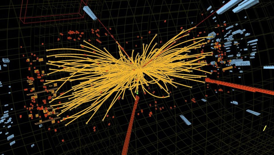 A representation of traces of a proton-proto collision in the search for the Higgs particle.