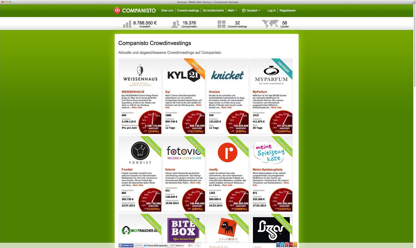 EINMALIGE VERWENDUNG NUR ALS ZITAT Screenshot/ Companisto/ Crowfunding