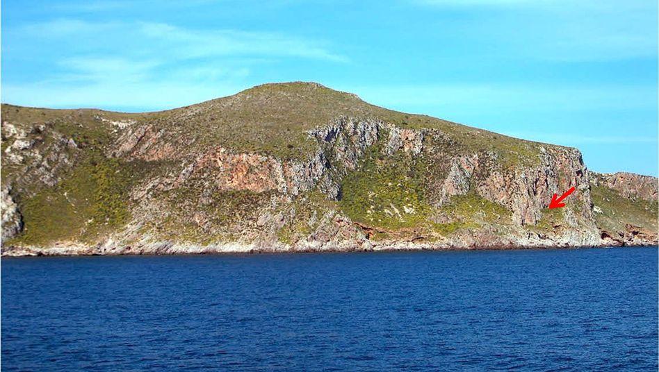 Küste von Favignana: In einer Grotte (Pfeil) wurden die Knochen entdeckt