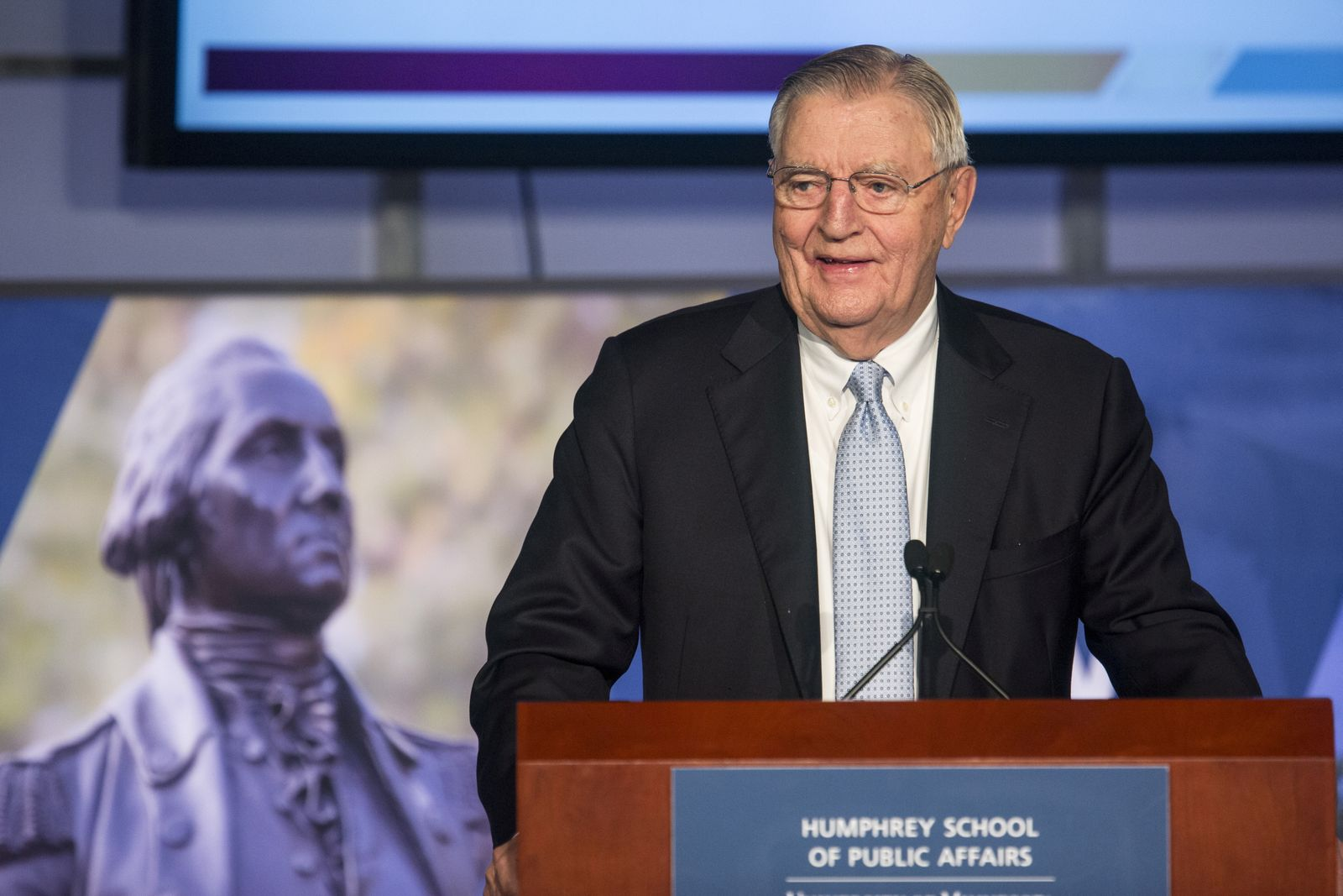 FILE PHOTO: Former Vice President Walter Mondale speaks at an event held in his honor at The George Washington University in Washington