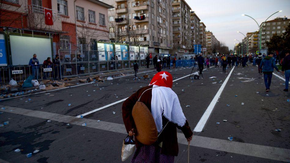 Straßenszene nach einer Demonstration (Archivbild)