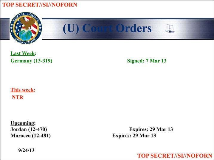 Graphic: The SSO report citing FISA authorization to monitor Germany