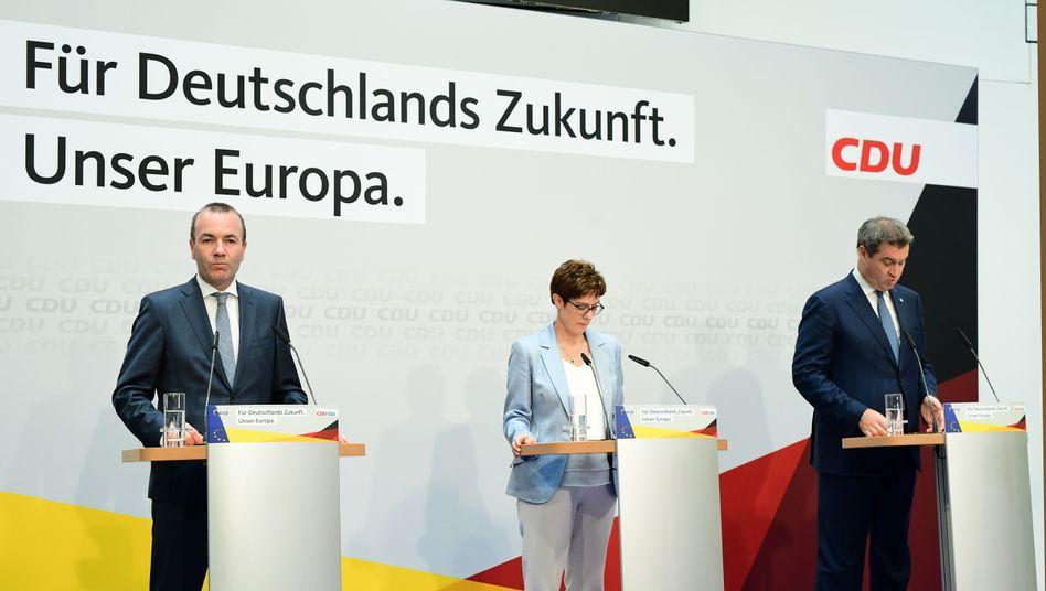 CDU-Vorsitzende Kramp-Karrenbauer, CSU-Chef Söder