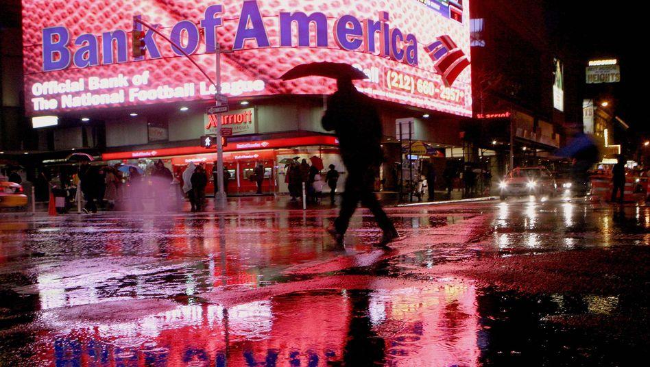 Filiale der Bank of America in New York: Aktien fallen unaufhörlich